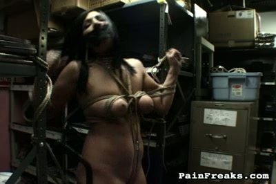 Floppy boobs. Huge boobs freak gets tied down