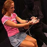 Bound and abused  a fiery redhead is shown her place with ropes and clamps by her master. A fiery redhead is shown her place with ropes and clamps by her master