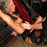Brutal sub domination. Cringing captive gets harshly lashed and a pounding from every angle