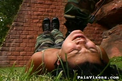 Drill sergeant  heavy instructor physically dominates his weak trainee. Cruel instructor physically dominates his weak trainee