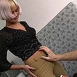 Pleasing her master. A blonde slave is roughed up at the hands of her perverse task master