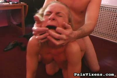 Rope tormented. Suffering blonde gets her tits pinched and torture