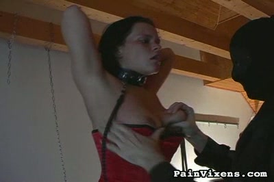 Bondage and suspension. Terrified Euro babe is tormentd and suspended