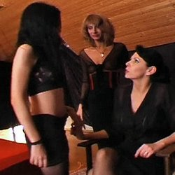Lezdom training. Lusty dominatrix Daria punishes two sluts in the dungeon
