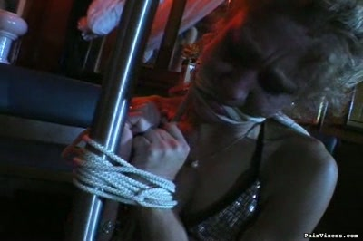 Bound and fondled  blonde submissive kelly gets roped up and fondled. Blonde servile Kelly gets roped up and fondled