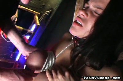 Tit suspension. Heidis nice boobs are bound cranked up to the ceiling