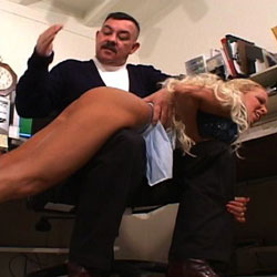 One black girl one blonde both slap by boss. Very hot tow watch a woman of color take a spanking.