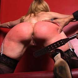 Bondage and spanking. This punishment is more severe than many of our other videos.