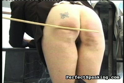Tattoo on a very naughty arse. You can see the distress on this naughty girls face even before headmistress pulls her knickers down to reveal the tattoo on her butt.