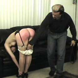 Acup cutie spank and paddled by man and woman. Our guy hits heavy on the blondes white panties.  Then a woman gets in on the act and takes her licks.