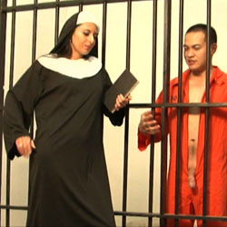 Nuns are not all inviting and proper. Ouch.  Not just balls but dick gets bitten.