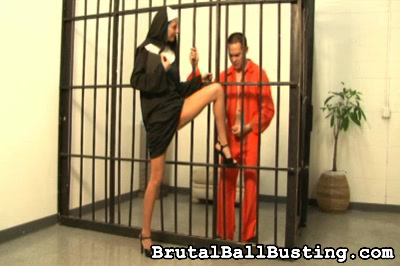 This nun has a mouth on her. You would not think that a nun would have such a mouth on her, but Sister Daniels just has to curse her victim with the fuck word while kicking him smartly in the balls, then making him remove her shoes.