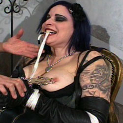Goth slut submits. This goth pain slut knows that her mistress is most pleased when she gives her what she wants and sometimes that involves a bit of pain and sometimes it means giving in to her pleasure.