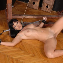 She awaits her master. Prone out on the floor, she awaits her master.
