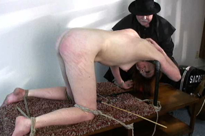 The device bondage games. She is tied up and there is no way that she is going to move her arms and legs and in the end her bum is going to turn red