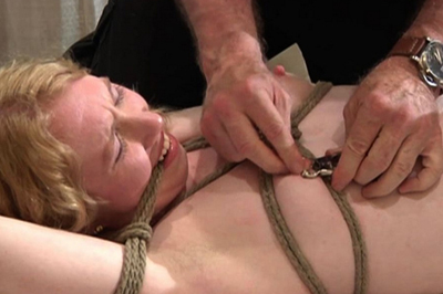 Chick loves breast bondage  this bondage video shows that many chicks love to be used and punished and that is what is going to happen to her right here. This bondage video shows that many chicks love to be used and punished and that is what is going to happen to her right here.