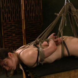Hogtied maya. Slutty Maya is hanging from the ceiling as her legs and hands are tied up and there is nothing she can do whatsoever.