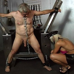Older male slave. The tables are certainly turned as this mature male gets punish by a younger blonde dominatrix