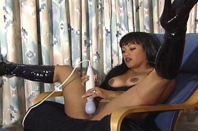 Black lady and her gimp   she doesnt even mind taking off her leather boots when she finally pumps her clit with a huge dildo. She doesn`t even mind taking off her leather boots when she finally pumps her clit with a huge dildo