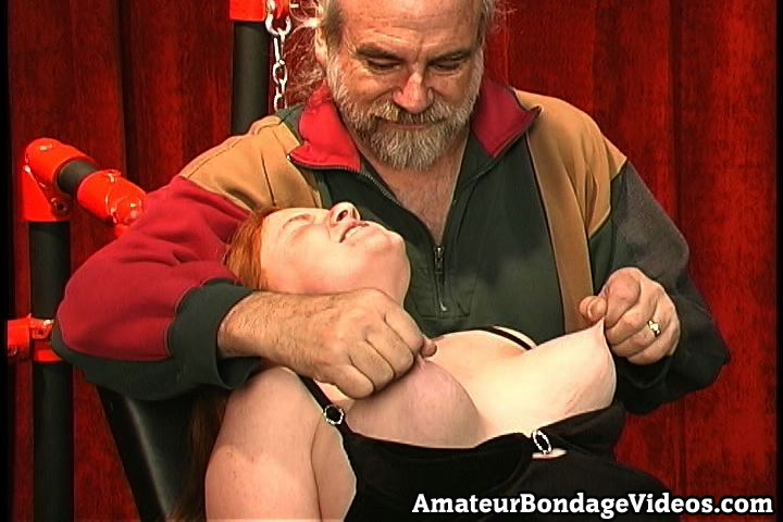 Heavy punishments in the basement. Excited red hairy Melinda is one of them. She has lovely bouncing boobies and rough nipples which are made for twisting and squeezing and that is what she is going to get