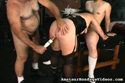 Lascivious mature lady caned. Her tight considerable round ass is made for spanking and if she doesn`t do what they tell her to do, there is no doubt that she is going to end up with a red butt.