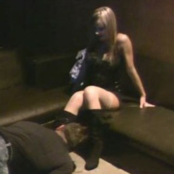 Godess in boots and nylons walks all over a man 32.
