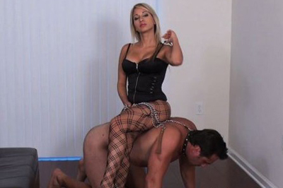 Seductive blonde busty girl and her slave 98. That was making him very nervous but at the same time he noticed that his penis is getting rock hard.