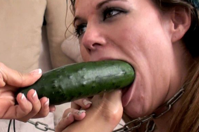 Two girls have fun with a cucumber 37. High quality videos show just what kind of poses is this submissive slave girl obligated to take while her dominatrix is having fun, they range from reverse cowgirl cucumber ride to a hardcore fuck-off with spicy hot spanking that leaves booty of the poor girl all red and her cunt throbbing with pleasure.