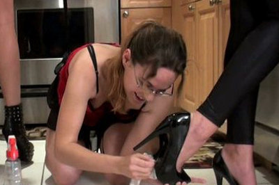 Bdsm cinderella in the kitchen 42. Now she's eager to please and doesn't think about resisting at all, her suit revealing all of her sensitive spots while she works in the kitchen and her girls and step mom giving her a foot to lick or give suck on from time to time, just to keep her properly motivated.
