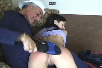Naughty ass 28. This girl needs to be disciplined. The senior painter takes on the job. He pulls her over his knee and spanks her naughty bottom.