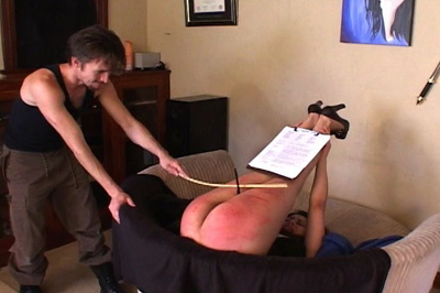 Caning for a sale 4  he brought the cane which he uses on her butt thighs and the back of her legs  this real estate agent is one tough cookie  but does she walk out with the sale. He brought the cane, which he uses on her ass, thighs, and the back of her legs. This real estate agent is one tough cookie. But does she walk out with the sale?