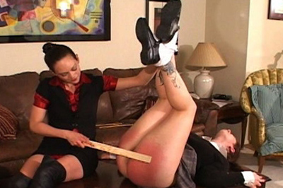 Redder and redder 95. Her girlfriend has a sensitive round ass, reddening very quick. It only gets redder when the paddles are used, more bare handed spanking, and her favorite cane.