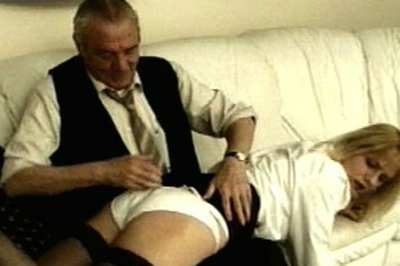 Old fashioned over the knee 4. Not only is he not leaving, but he wants to make sure his step daughter understands he's not going anywhere. He pulls her over his knee, like he used to when she was younger, and spanks her with his bare hand.