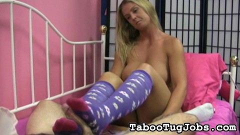 Lascivious knee high socks 12. Jenny loves giving foot jobs to cocks she likes. Of course, she has to wear her knee high socks. That's the only way she can stroke off a guy with her excited feet.