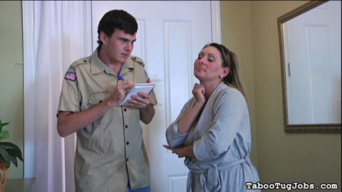 Boyscout at the door 95. Devon James was about to jump in the shower, but threw on her robe when she heard a knock at the door. She answers it to find a cute boyscout selling cookies for his troop. She's glad that she's in a bathrobe, wearing nothing underneath it.