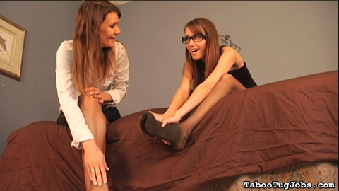 Sore feet for neighbor 6. Kaci and Trish, two hot stepsisters, have returned home, exhausted from work. Of course, these horny girls do it all in high heels. Trish did notice the neighbor boy looking at their feet