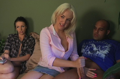 Kriselle watches as mandy blowjob 1. If she isn't going to leave, she'll just have to watch. Mandy sits her boyfriend down next to Kriselle, pulls down his pants, and tugs on his penish with her mouth.