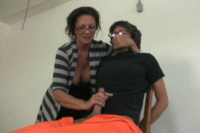 Prison hand job anguished 49. Her prisoner wants her to stop. He even gets a bit mouthy with her. But he can't move and she has his erect penish in her hand.