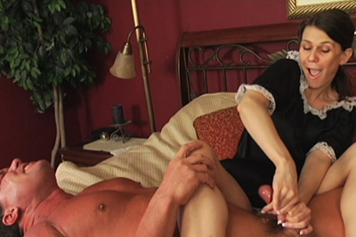 Waxing governor cock 37. The maid is cleaning his room, bends over to dust, giving Arnold one hot view up her skirt. He asks her if she can tend to a certain area that happens to be in his pants.