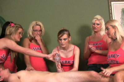 Friendly advice for 1st jerk 67. The ad brings out a line of guys. Their friends have to choose. Amanda and Barbie take turns stroking his cock, their friends giving them tips.