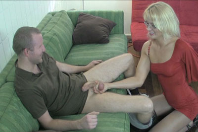 Handjob cumshot degradation 10. She goes back and forth between an awesome handjob and stomping his balls flat until he can't stop from cum all over himself.