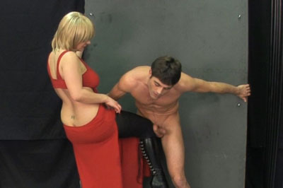Hold your load 100. As he gets close to cumming, she lets him know that she's going to knee him really violent after he cums.