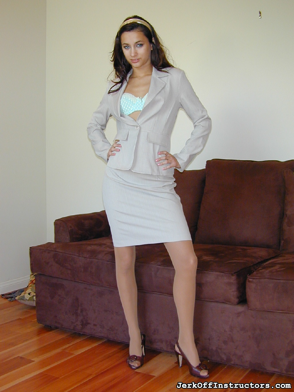 Georgia jones  suit. Georgia Jones' in a tight business suit, nude sheer to waist pantyhose with lots of sexual office games to set you off!