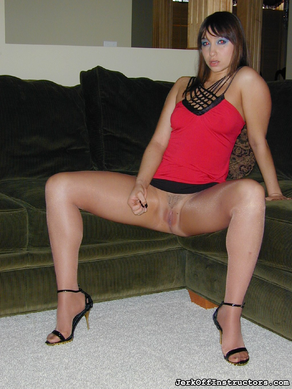 The sexy louisa lanewood. Louisa Lanewood is here to make sure you please yourself today with the best jerk off instruction around town. She is so seductive and horny in her red dress and nude sheer to waist pantyhose.