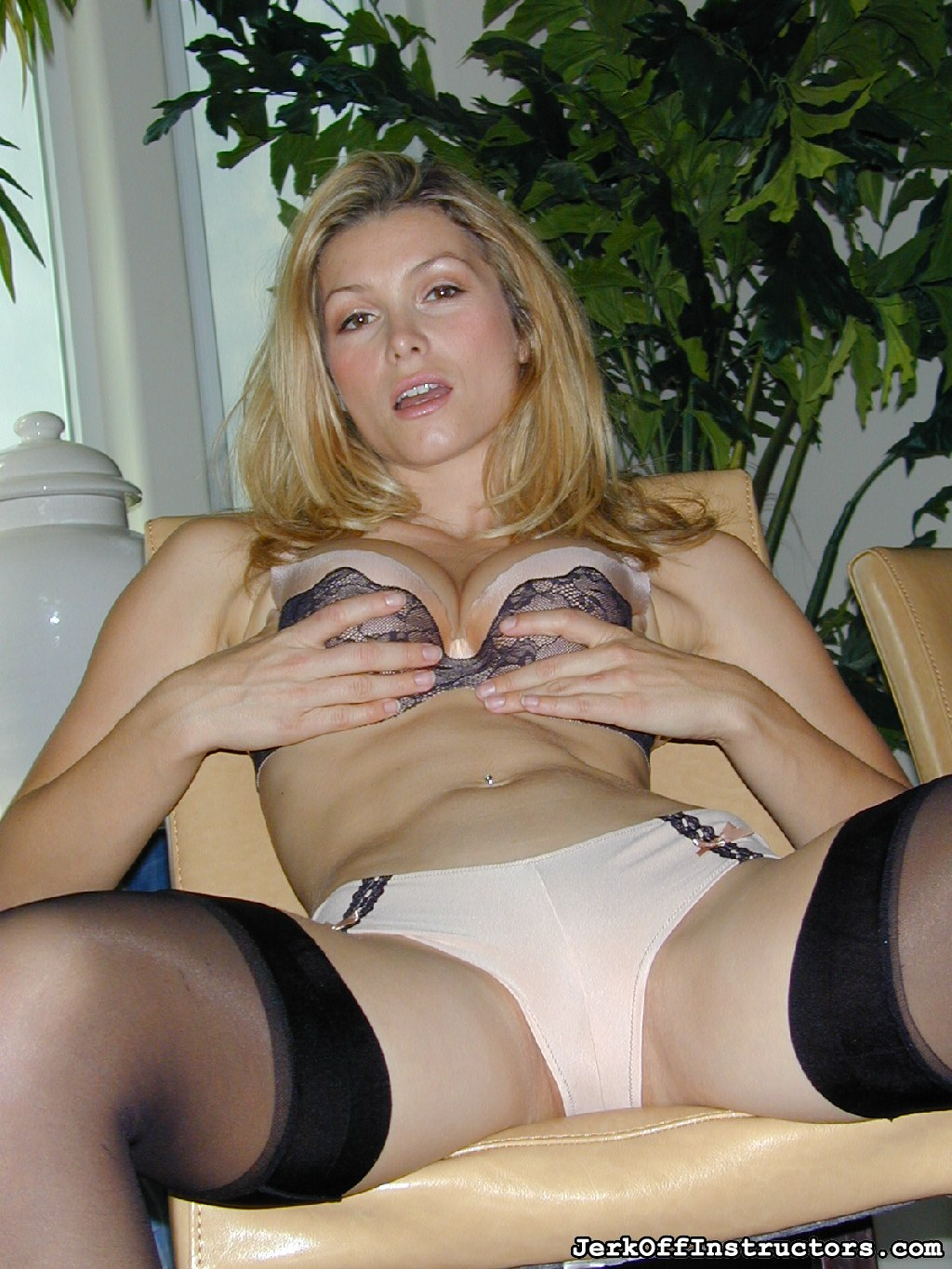 Nude bra  panties. In tan nylon bikini panties and bra with black thigh highs, Heather Vandeven keeps you violent by bending over and standing over you. She wants you to get a good look at what she brought you.