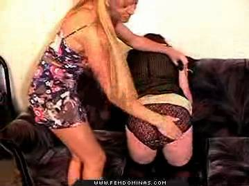 Mature blonde humiliates1  blonde milf spanks boy in dress. Blonde MILF spanks boy in dress