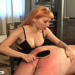 Blonde mistress ties and spanks this dirty old man